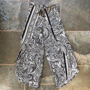 Umgee High Waisted Print Wrap Gaucho Pants